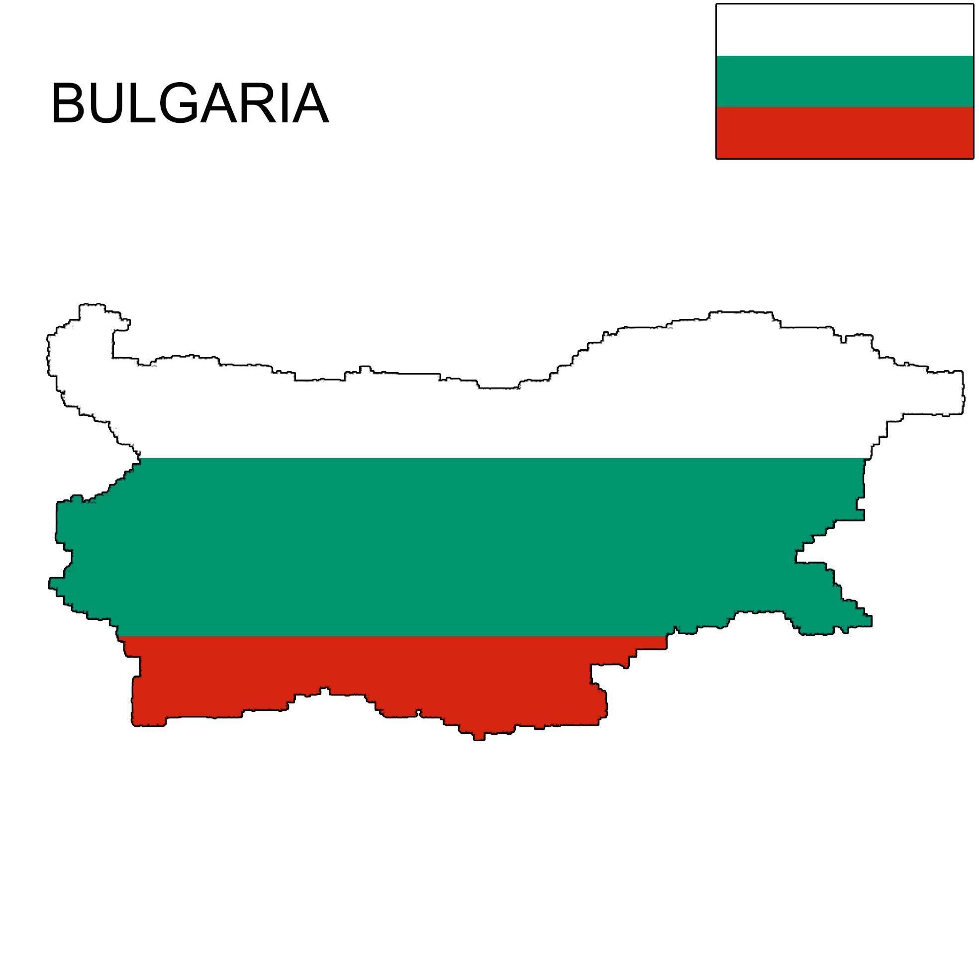 Karta Bugarske zastava - zastava Bugarske kartica (Istočna Europa - Europa)